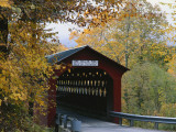 Covered Bridge with Fall Foliage, Battenkill, Chisleville Bridge, Vermont, USA Photographic Print by Scott T. Smith