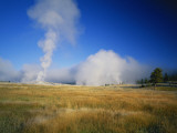 Steam Rising from Old Faithful, Upper Geyser Basin, Yellowstone National Park, Wyoming, USA Photographic Print by Scott T. Smith