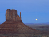 Full Moon Rising Behind Sandstone Bluffs, Arizona/Utah Border, Monument Valley Tribal Park, Navajo Photographic Print by Scott T. Smith