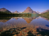 Mountains Reflect into Calm Two Medicine Lake, Glacier National Park, Montana, USA Stampa fotografica di Chuck Haney