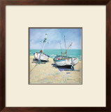 Two Moored Boats Art by Jane Hewlett