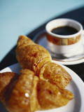 Croissant and Black Coffee on Table, St. Martin, Caribbean Photographic Print by Greg Johnston