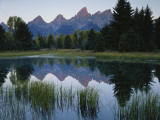 Reflection of Mountains in River, Schwabacher's Landing, Grand Teton National Park, Wyoming, USA Fotografisk trykk av Scott T. Smith