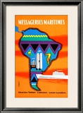 Messageries Maritimes Amerique Du Sud - Small Poster by Desaleux