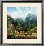Morning in a Tirolese Village Print by Johann Heinrich Bürkel