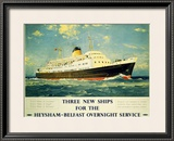Three New Ships Framed Giclee Print by L A Wilcox