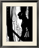 Japanese Kiri-e: Woman Lovely in Rain but Sad in Expression Framed Giclee Print by Kyo Nakayama