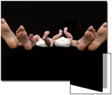 Feet of Caucasian Family, Parents and Twin Babies Against Black Background Posters by Theodore Beowulf Sheehan