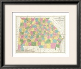 Map of Georgia and Alabama, c.1839 Framed Giclee Print by David H. Burr