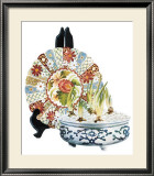 Oriental Plate with Bulbs Posters by Pat Woodworth