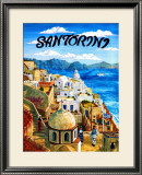 Santorini Island, Greece Framed Giclee Print by Caroline Haliday
