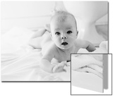 Nude Baby Lying on Bed Print by Elke Hesser