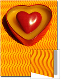 A Love Stone Heart with Yellow Background Print by Abdul Kadir Audah