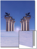 Winged Lions on Columns Above the Clouds Print by Abdul Kadir Audah