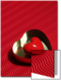 Heart Shaped Box Containing a Love Stone with Strong Red Background Posters by Abdul Kadir Audah