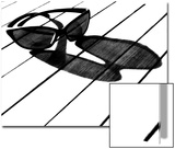 Black and White Image of Sunglasses and their Shadow on a Table Art by Claire Morgan