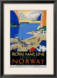Royal Mail Cruises, Norway Framed Giclee Print by Daphne Padden
