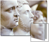 Close-Up of Statue Faces on a Shelf in the Vatican, Rome, Italy Posters by Andrea Sperling