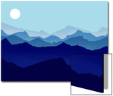 Layers of Mountain Ranges Lead to a Horizon with Bright Moon Prints by Rich LaPenna
