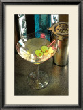 Martini with Two Olives on the Black Table Framed Giclee Print by Steve Ash
