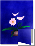 Pink Flower in Vase on Blue Background Posters by Rich LaPenna