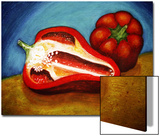 Ed Bell Peppers on Cutting Board Poster by Emiko Aumann