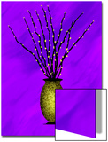 Sparkling Pussy Willow in Graphic Vase on Blue Background Prints by Rich LaPenna