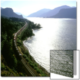 Freight Train Traveling Along Columbia River, Columbia River Gorge, Oregon, USA Prints by Deon Reynolds