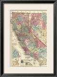Map of the States of California and Nevada, c.1877 Framed Giclee Print by Thos. H. Thompson