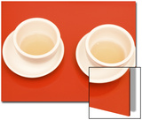 Close-Up of Two Tea Cups on Red Table for Chinese Tea Ceremony Posters by Theodore Beowulf Sheehan