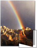 Very Dark Gray Sky, Rainbow over Red Rocks, Sedona, Arizona, USA Prints by Margaret L. Jackson