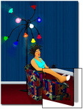 Woman Lounges under Lights with Poodle in Beauty Salon Prints by Rich LaPenna
