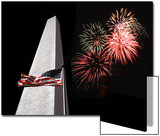 Collage of the Washington Monument, American Flag, and Fireworks Art by Diane Miller