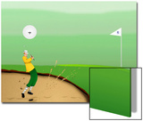 Golfer Strokes Ball Out of Sand Trap Poster by Rich LaPenna