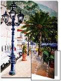 Mediterranean Style Plaza with Cafe and Palm Tree Prints by Rich LaPenna