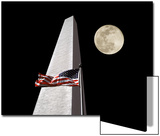 Collage of the Washington Monument, American Flag, and Moon Art by Diane Miller