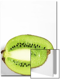 Half of Kiwi Fruit on White Background Poster by Tina Chang