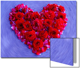 Roses Form Heart Shape on Blue Background Prints by Emiko Aumann