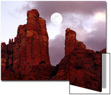 Red Rock with Moon and Sun Prints by Margaret L. Jackson