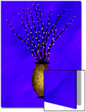 Sparkling Pussy Willow in Graphic Vase on Violet Background Poster by Rich LaPenna