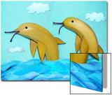 Banana Dolphins Prints by Emiko Aumann