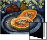 Assorted Fruit, Papaya, Plum, Pear Presented on Blue Platter Covered with Ivy Prints by Emiko Aumann