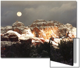 Moon Above Snow-Covered Boynton Canyon, Sedona, Arizona, USA Posters by Margaret L. Jackson