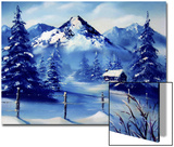 Snowy Mountains with Peaceful Cabin Prints by Rich LaPenna