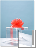Clear Box with Red Ribbon and Bow Prints by Laura Johansen