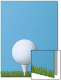 Golfball on Tee with Grass Posters by EJ Carr