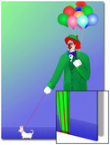 Clown Holding Balloons and Dog on Leash Poster by Rich LaPenna