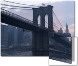 Sunset Behind the Brooklyn Bridge and Manhattan on a Humid Summer Evening Prints by John Nordell