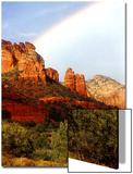 Partial Rainbow over Red Rocks with Bluish Sky, Sedona, Arizona, USA Posters by Margaret L. Jackson