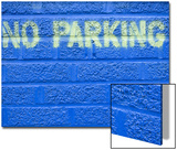 Painted Blue Brick Wall with No Parking Sign Art by John Nordell